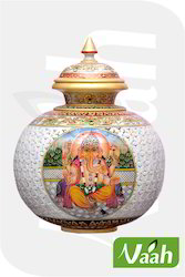Vaah Ganesh Picture Marble Home Decor Pot