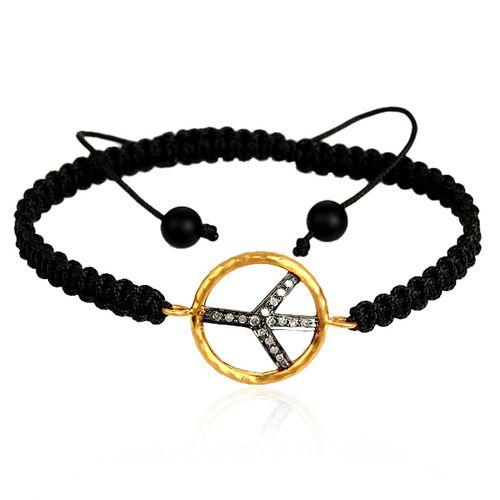 Peace Sign Charm Macrame Bracelet