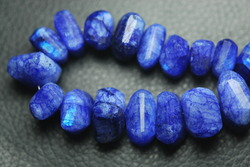 Blue Moonstone Faceted Step Cut Nuggets Strand 9 Inches