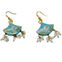 Rajasthani Girls Turquoise Lacquer Ear Ring -134