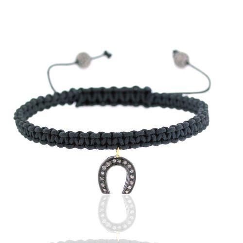 Diamond Horseshoe Charm Macrame Bracelet