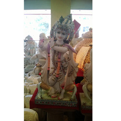 White Marble Krishna with Peacock Moorti