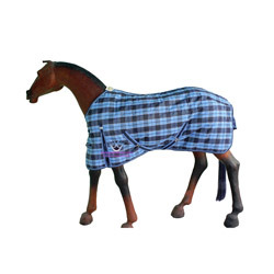 Horse Stable Rug L.Blue-Navy Blue Check
