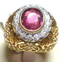 Pink Diamond Studded Gold Ring