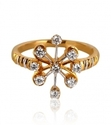 yellow gold swirl flower diamond ring