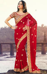 Dark+Red+Faux+Georgette+Saree+with+Blouse