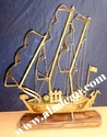 antique brass ship model