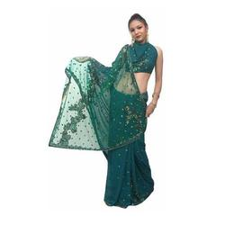 Embroidery Net Green Saree