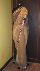 Embroidered Beig Saree