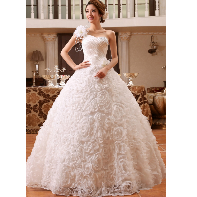 Wedding Gown - Multi Stereo Flowery Gown Manufacturer from New Delhi