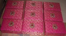 Fabric Covered Brocade Boxes in Pink For Weddings