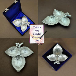 The Leaf Trio - Silver Plated Designer Brass Serving Tray