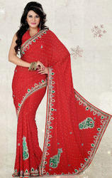 Red+Color+Satin+Chiffon+Saree+with+Blouse
