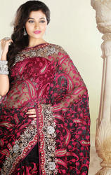 Black+and+Pink+Color+Tissue+Saree+with+Blouse