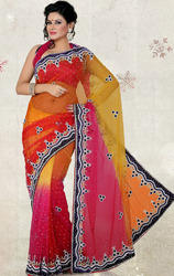 Orange+Pink+and+Yellow+Color+Shimmer+Net+Saree+with+Blouse