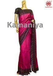 Pink Designer Tussar Saree