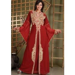Maroon Embroidered Abaya