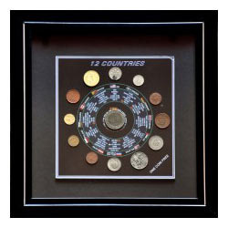 12 World Coins With Framing