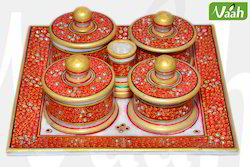 Vaah Marble Serving Four Donga Set with Kundan Work