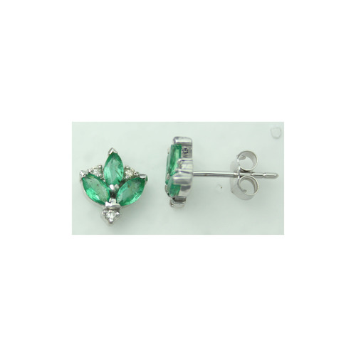 Emerald And Diamond 14K White Gold Earring