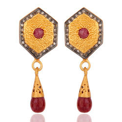designer pave diamond ruby sterling silver earrings
