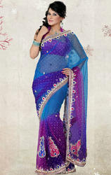 Purple+Blue+and+Magenta+Color+Net+Saree+with+Blouse