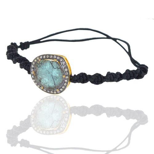 Blue Diamond 18k Gold Macrame Bracelet