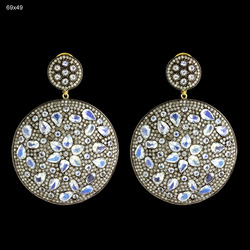 Pave Diamond Rainbow Moonstone Gemstone Earrings