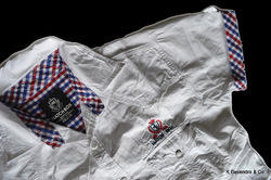 half sleeve white twill shirts with embroidery