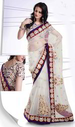 Net Saree with Velvet Pat-1200