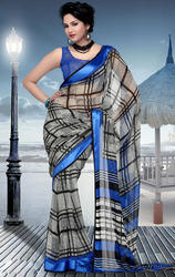 Blue+and+Black+Faux+Georgette+Saree+with+Blouse