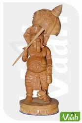 Vaah Carved Wooden Ganesha Idol with Umbrella