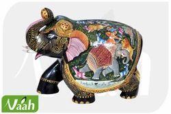 Vaah Decorative Painted Saluting Wooden Elephant