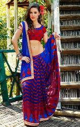 Blue+Faux+Georgette+%26+Georgette+Brasso+Saree+with+Blouse