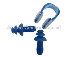 Silicone Swimming Ear Plug And Nose Clip Set-Blue