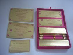 Boxed Pink Scroll Wedding Invites with RSVP, Thank You Cards
