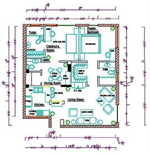 Interior Designing Services Auto Cad Drawings