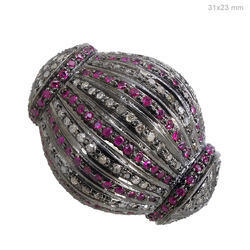 gemstone ruby diamond spacer bead