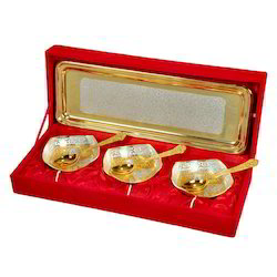 Designer Brass and Silver Serving Set