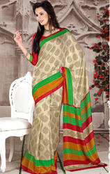Cream+and+Green+Color+Art+Silk+Printed+Saree+with+Blouse