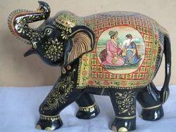 White Wood Hand Painted Elephant