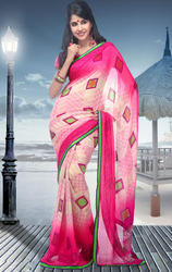 Cream+and+Pink+Faux+Georgette+Saree+with+Blouse