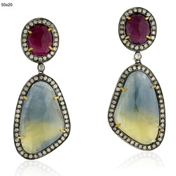 Multi Sapphire Gemstones Pave Diamond Earrings