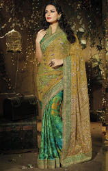 Green+Color+Net+and+Brasso+Saree+with+Blouse