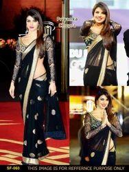 Bollywood Stylish Party Wear Black Saree