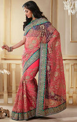 Peach+Color+Net+Designer+Sarees+with+Blouse