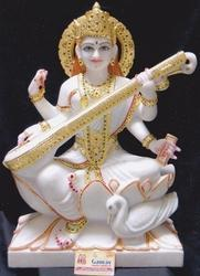 Gold Plated Marble Saraswati Statue