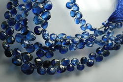 Kyanite Faceted Heart Shape Briolettes Strand 8 ''