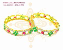 Green and Pink Colour Designed Bangles