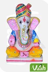 Vaah Painted Multicolor Lord Ganesha Marble Murti